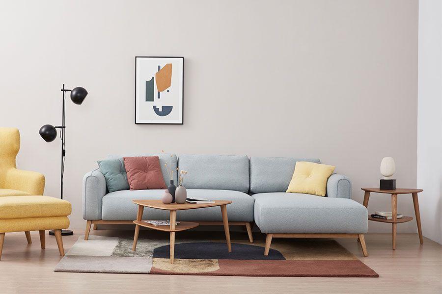 Calvin L型布沙發/右貴妃